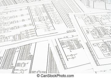 circuits, papier, électrique, imprimé, fond, plusieurs