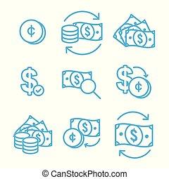 circulação, câmbio, dinheiro, conta, dólar, /, moeda corrente, taxa, ícone