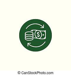 circulação, câmbio, dinheiro, /, taxa, ícone