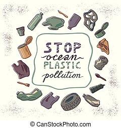 circulaire, écologique, concept, catastrophe, garbage.