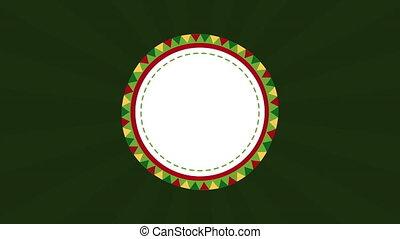 circulaire, animation, cadre, décoratif, mexicain