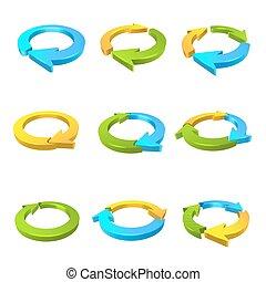 circulaire, flèche, 3d