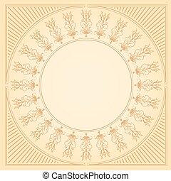 circulaire, grens, delicaat, florals, calligraphic