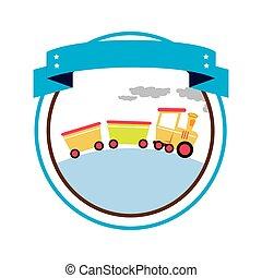 circulaire, grens, met, etiket, en, trein, speelbal
