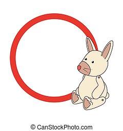 circulaire, grens, met, konijntje, speelbal