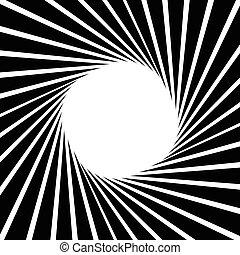 circulaire, illustration., lijnen, pattern., strepen, monochroom, geometrisch