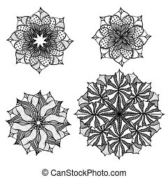 circulaire, set., ornement, géométrique