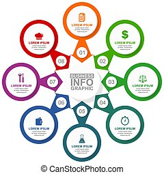 circulaire, vecteur, diagramme, gabarit, droit & loi, options, technologie, cuisinier, présentation, internet, toile, 8, infographic, illustration, coloré, business