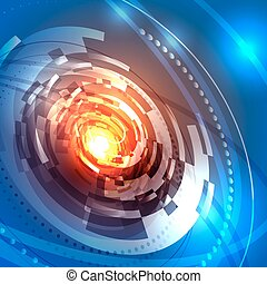Background with circular abstract spaceship design, vector illustration.