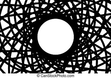 Abstraction Metallic Circular Construction with Black and White