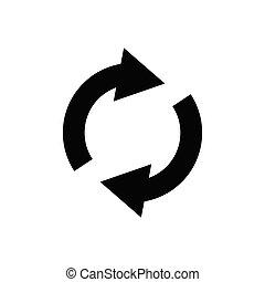 Circular arrow circle arrow icon rotation restart. Design template vector