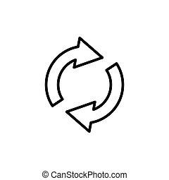 Circular arrow circle arrow line icon rotation restart. Design template vector