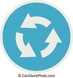 Circular arrow icon, flat style.
