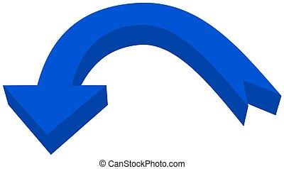 circular arrow in 3d blue color - 3D Illustration
