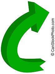 circular arrow in 3d green color - 3D Illustration