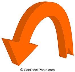 circular arrow in 3d orange color - 3D Illustration
