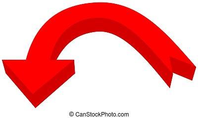 circular arrow in 3d red color - 3D Illustration