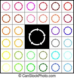 Circular arrows sign. Vector. Felt-pen 33 colorful icons at white and black backgrounds. Colorfull.