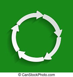 Circular arrows sign. Vector. Paper whitish icon with soft shadow on green background.