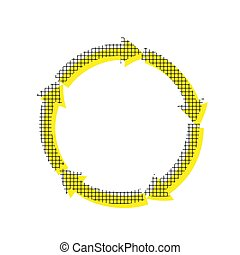 Circular arrows sign. Vector. Yellow icon with square pattern du