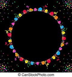 Circular background of colored flags over black space