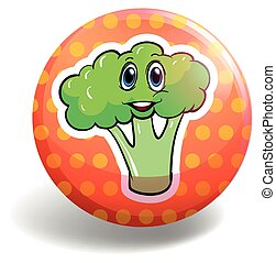 Circular badge with broccoli