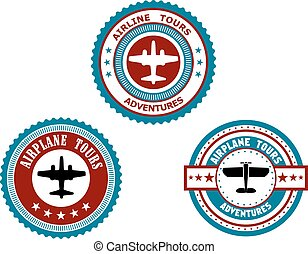 Circular badges for airplane tours - Circular badges for...