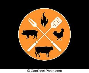 Circular Barbecue or Grilling emblem.