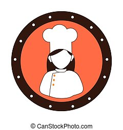 circular border silhouette woman chef