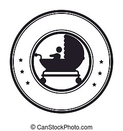circular border with black silhouette baby carriage
