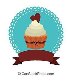 circular border with cupcake with cream and chocolate cookie