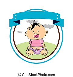 circular border with label and baby boy
