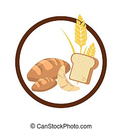 circular border with set breads with wheat