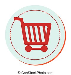circular border with silhouette shopping cart