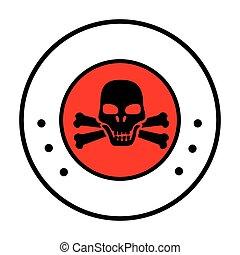 circular border with symbol skull and bones