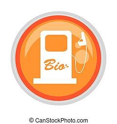 circular button bio fuel station vector illustration