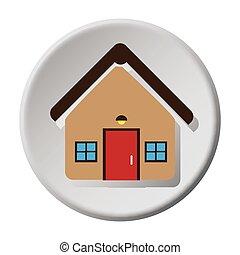circular button facade house icon design vector illustration