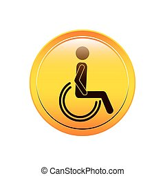 circular button person sitting wheelchair icon vector ...
