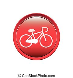 circular button with bicycle icon vector illustration