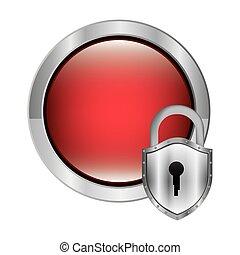 circular button with metallic padlock vector illustration