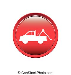 circular button with tow truck vector illustration