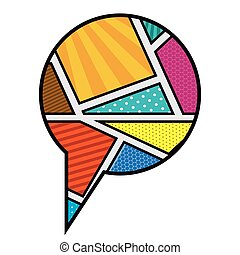 circular callout for dialogue in pop art vector illustration