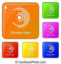 Circular chart icons set color