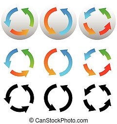 Circular, circle arrow icons, symbols. Colorful and black versions. Vector
