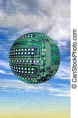 Circular Circuit Boards. - Round circuit boards in sky.