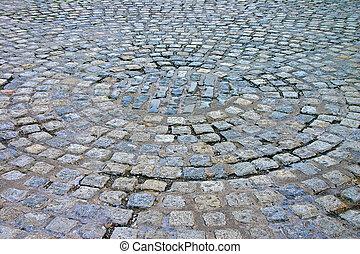 Circular Cobbled Street in Liverpool England UK