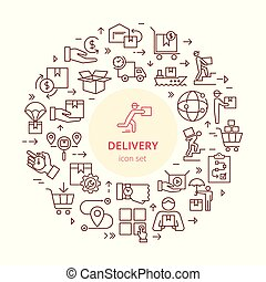 Circular colorful template delivery logistic set in flat style. Vector icons for web, infographic or print.