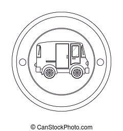 circular contour of silhouette with mini van