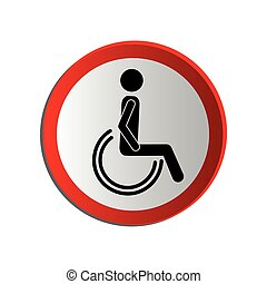 circular contour road sign person sitting wheelchair