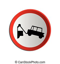 circular contour road sign with tow truck
